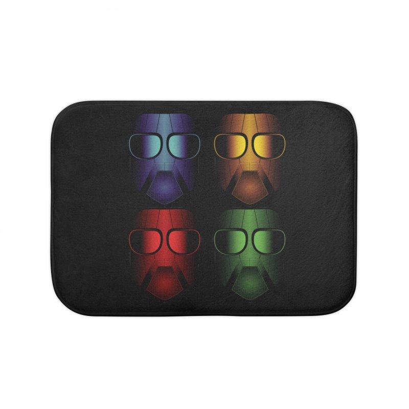 4 Masks Eins Home Bath Mat by nickaker's Artist Shop