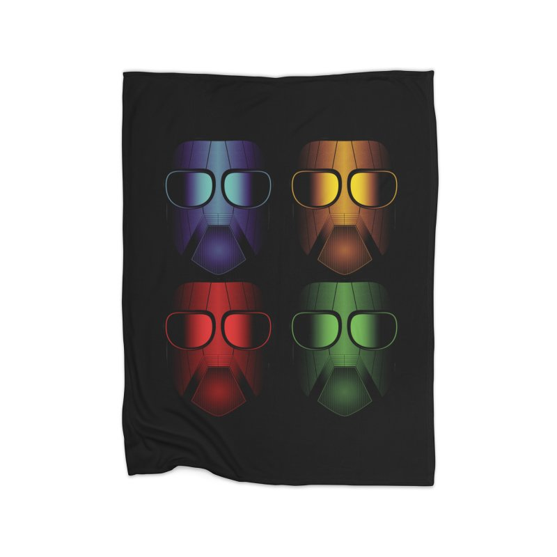 4 Masks Eins Home Fleece Blanket Blanket by nickaker's Artist Shop