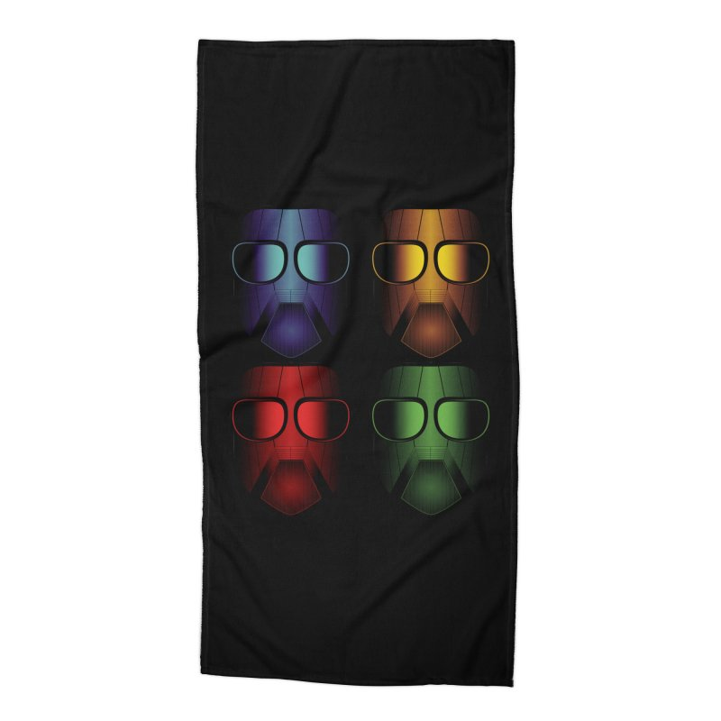 4 Masks Eins Accessories Beach Towel by nickaker's Artist Shop