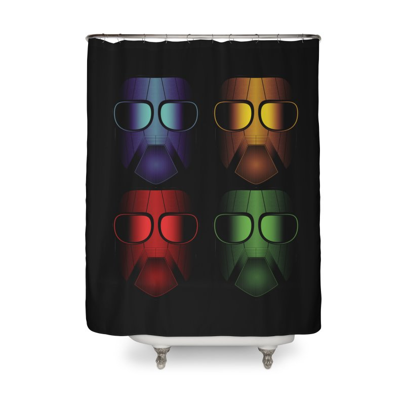 4 Masks Eins Home Shower Curtain by nickaker's Artist Shop