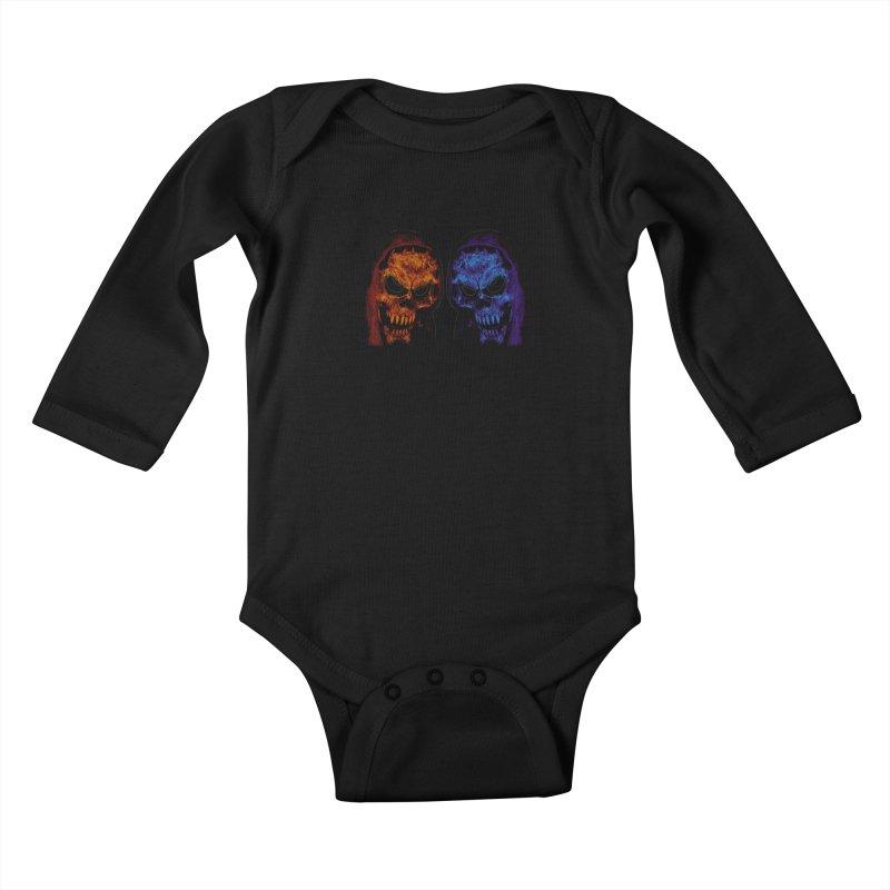 Fire and Ice Kids Baby Longsleeve Bodysuit by nickaker's Artist Shop