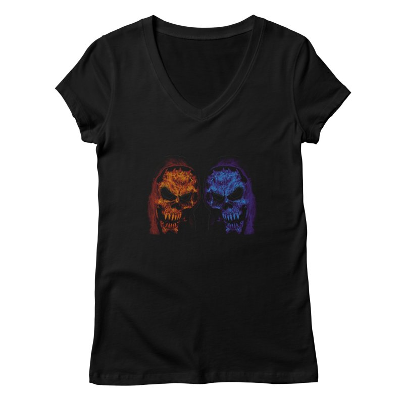 Fire and Ice Women's V-Neck by nickaker's Artist Shop