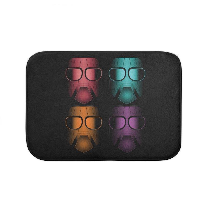 4 Masks Zwei Home Bath Mat by nickaker's Artist Shop