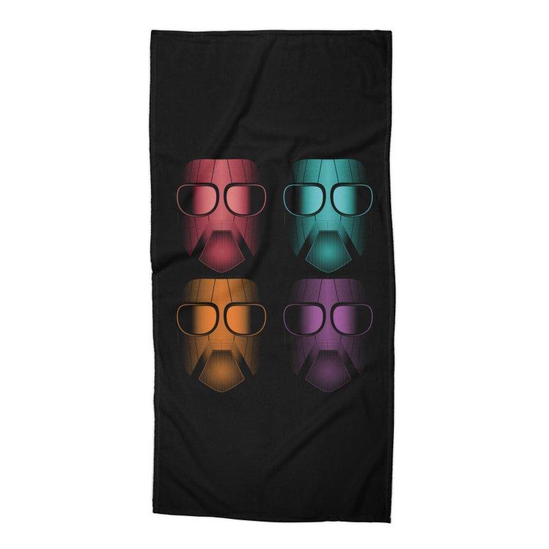 4 Masks Zwei Accessories Beach Towel by nickaker's Artist Shop