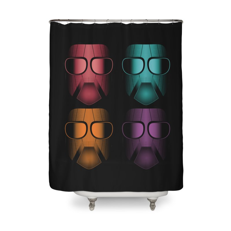 4 Masks Zwei Home Shower Curtain by nickaker's Artist Shop
