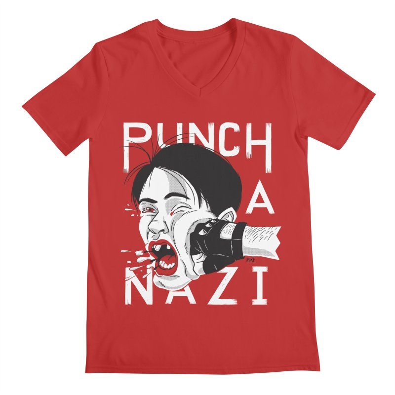 Punch A Nazi Men's Regular V-Neck by Nick Lacke's Shirt Shop