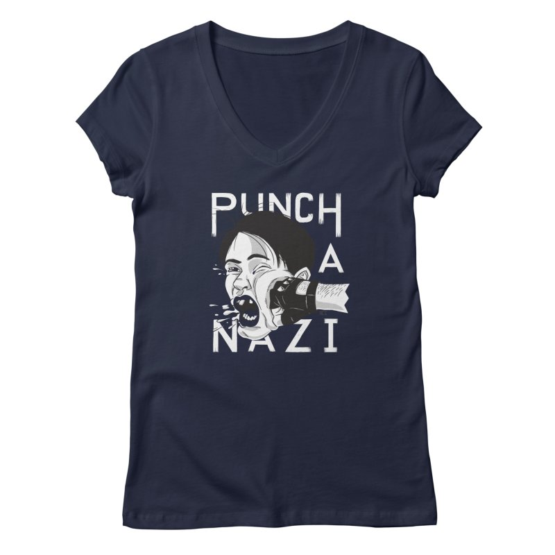 Punch A Nazi Women's Regular V-Neck by Nick Lacke's Shirt Shop