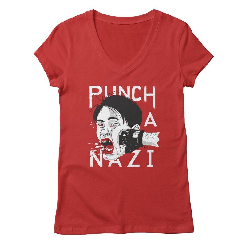 Punch A Nazi Women's Regular V-Neck by Nick Lacke's Shirt Shop