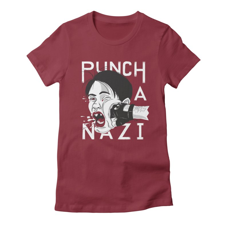 Punch A Nazi Women's Fitted T-Shirt by Nick Lacke's Shirt Shop