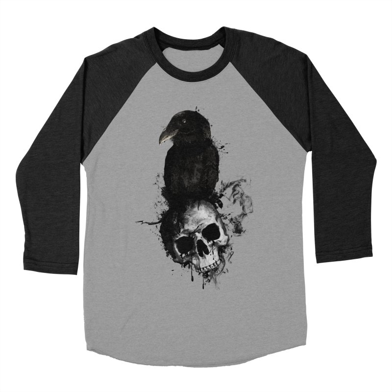 Raven and Skull Men's Baseball Triblend T-Shirt by Nicklas Gustafsson