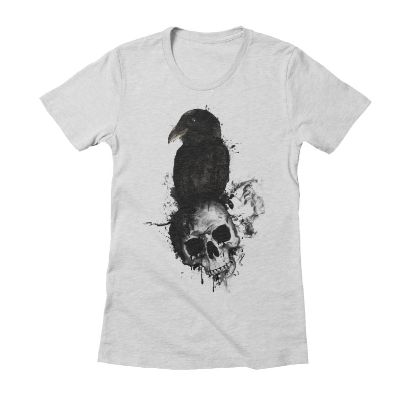 Raven and Skull Women's Fitted T-Shirt by Nicklas Gustafsson