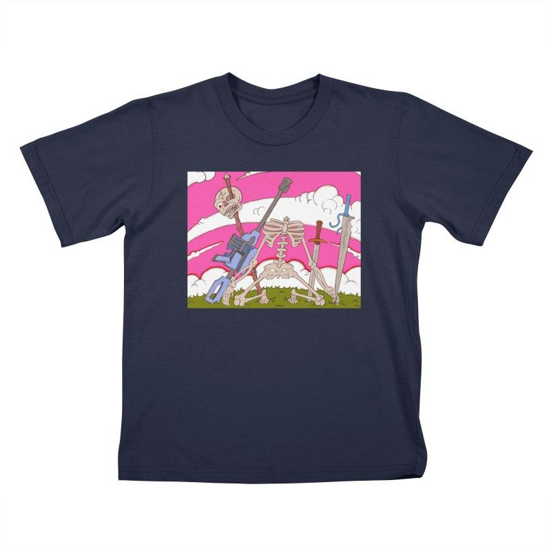 War Skeleton Kids T-Shirt by Nick Lee Art's Artist Shop