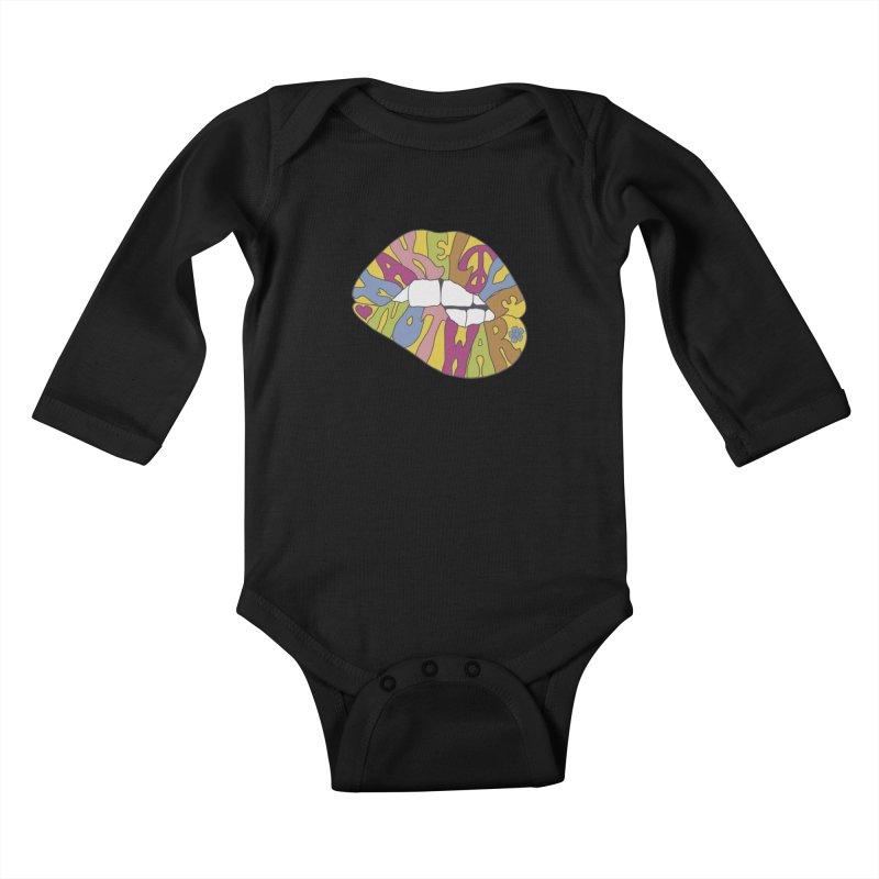 MAKE LOVE NOT WAR Kids Baby Longsleeve Bodysuit by nickmanofredda's Artist Shop