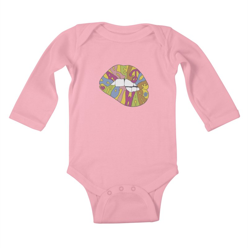 MAKE LOVE NOT WAR Kids Baby Longsleeve Bodysuit by nickmanofredda's Artist Shop