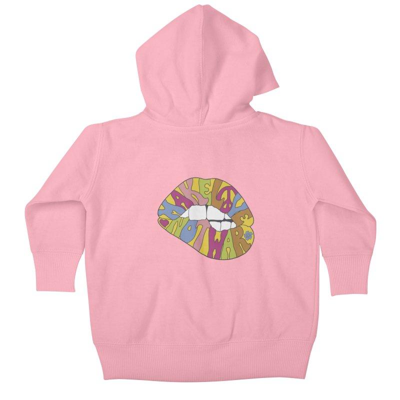 MAKE LOVE NOT WAR Kids Baby Zip-Up Hoody by nickmanofredda's Artist Shop