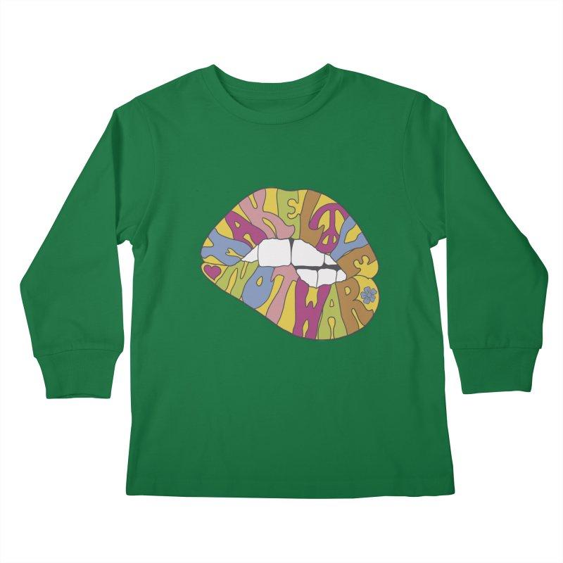 MAKE LOVE NOT WAR Kids Longsleeve T-Shirt by nickmanofredda's Artist Shop