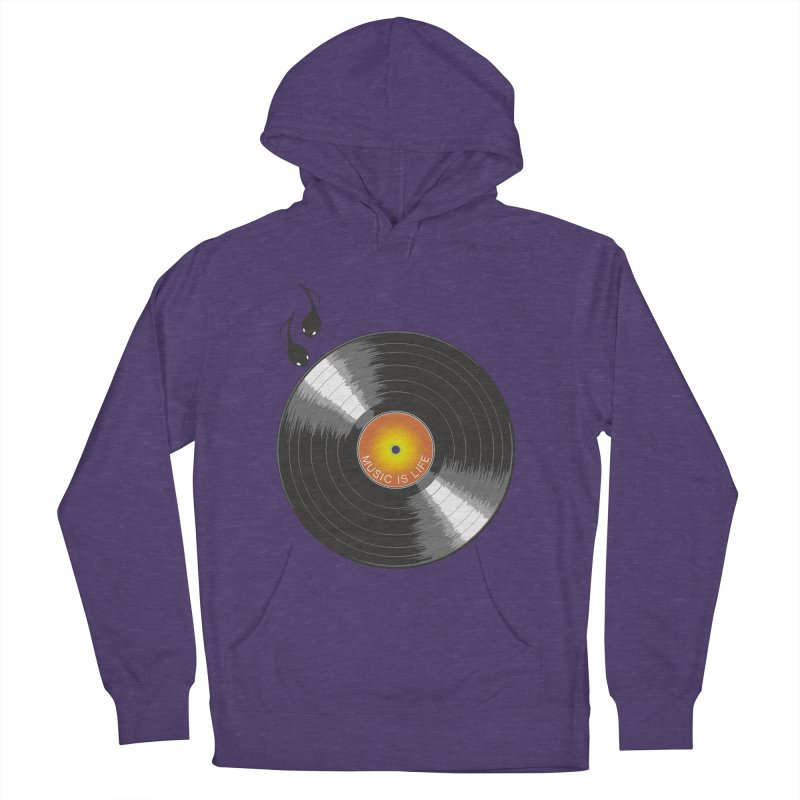 Music is Life Men's French Terry Pullover Hoody by nickmanofredda's Artist Shop