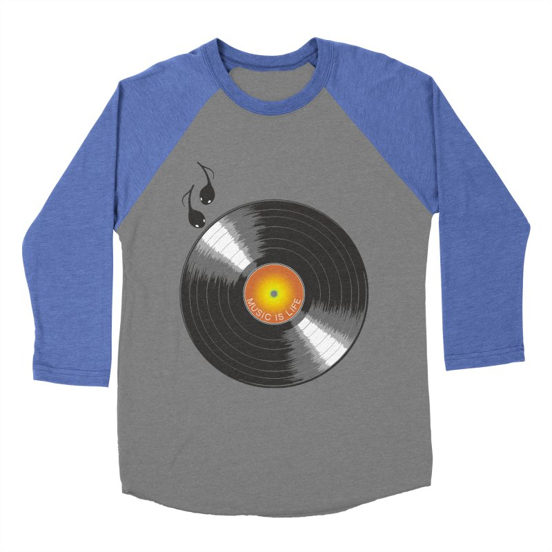 Music is Life Men's Baseball Triblend Longsleeve T-Shirt by nickmanofredda's Artist Shop