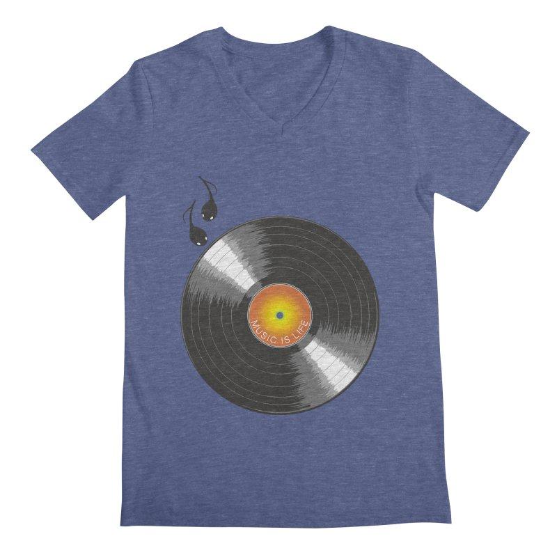 Music is Life Men's V-Neck by nickmanofredda's Artist Shop