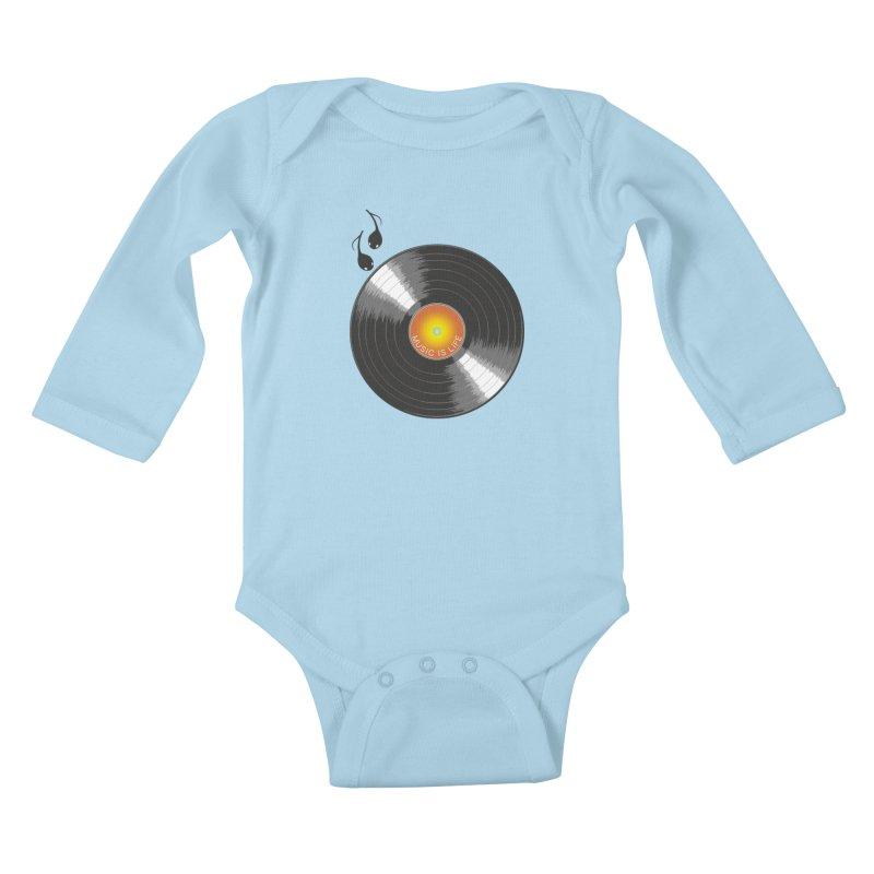 Music is Life Kids Baby Longsleeve Bodysuit by nickmanofredda's Artist Shop