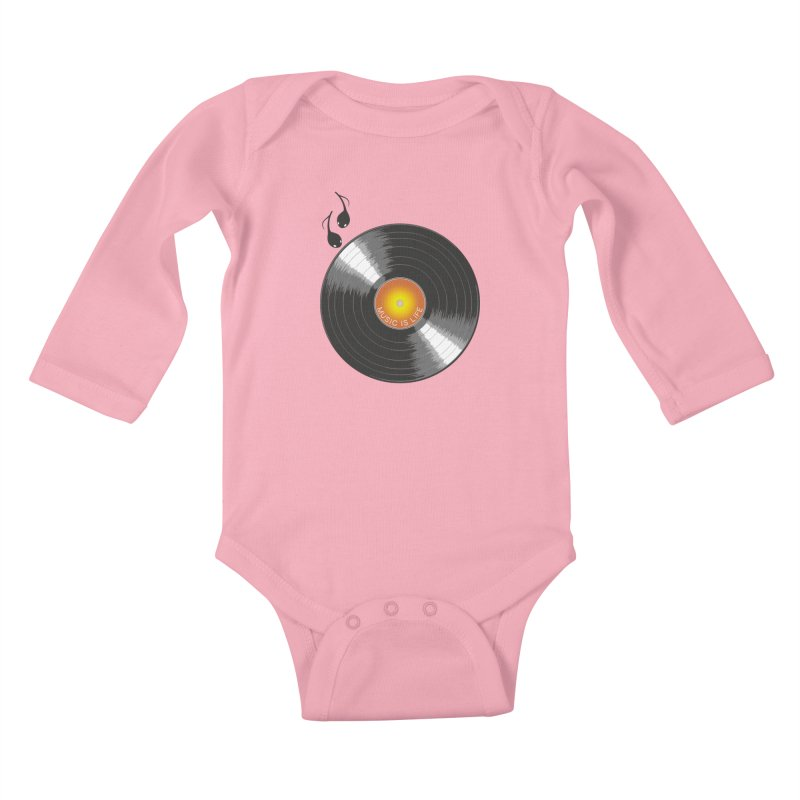 Music is Life Kids Baby Longsleeve Bodysuit by nickmanofredda's Artist Shop