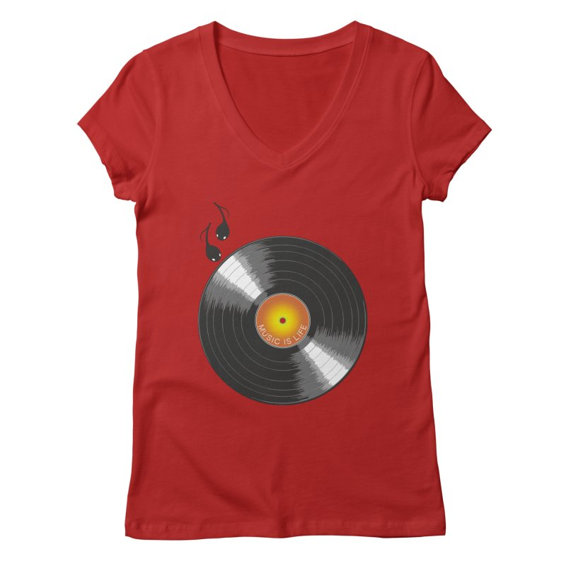 Music is Life Women's V-Neck by nickmanofredda's Artist Shop
