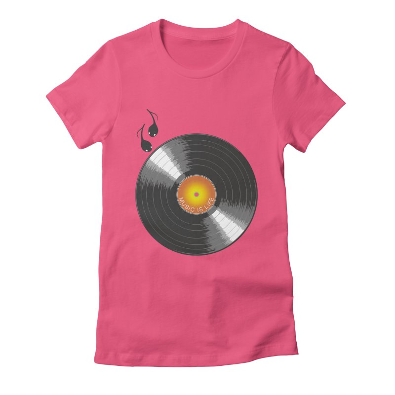Music is Life Women's Fitted T-Shirt by nickmanofredda's Artist Shop