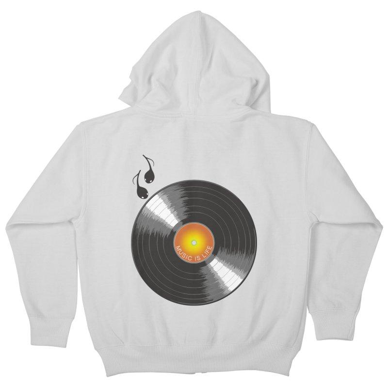 Music is Life Kids Zip-Up Hoody by nickmanofredda's Artist Shop
