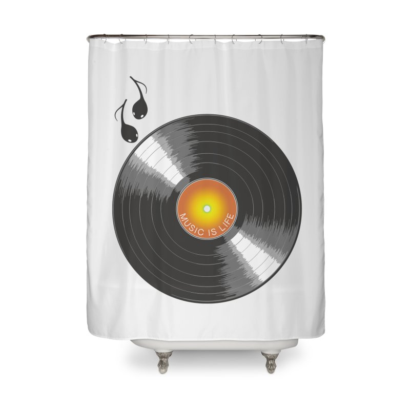 Music is Life Home Shower Curtain by nickmanofredda's Artist Shop