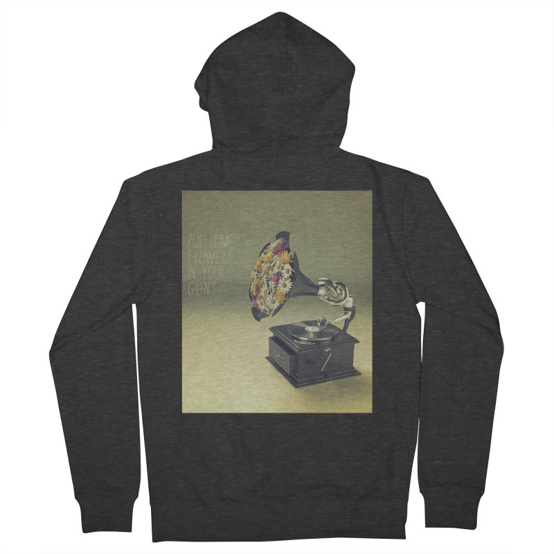 Put Some Flowers In Your Guns Women's French Terry Zip-Up Hoody by nickmanofredda's Artist Shop