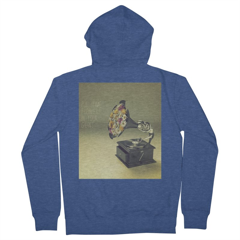 Put Some Flowers In Your Guns Men's French Terry Zip-Up Hoody by nickmanofredda's Artist Shop