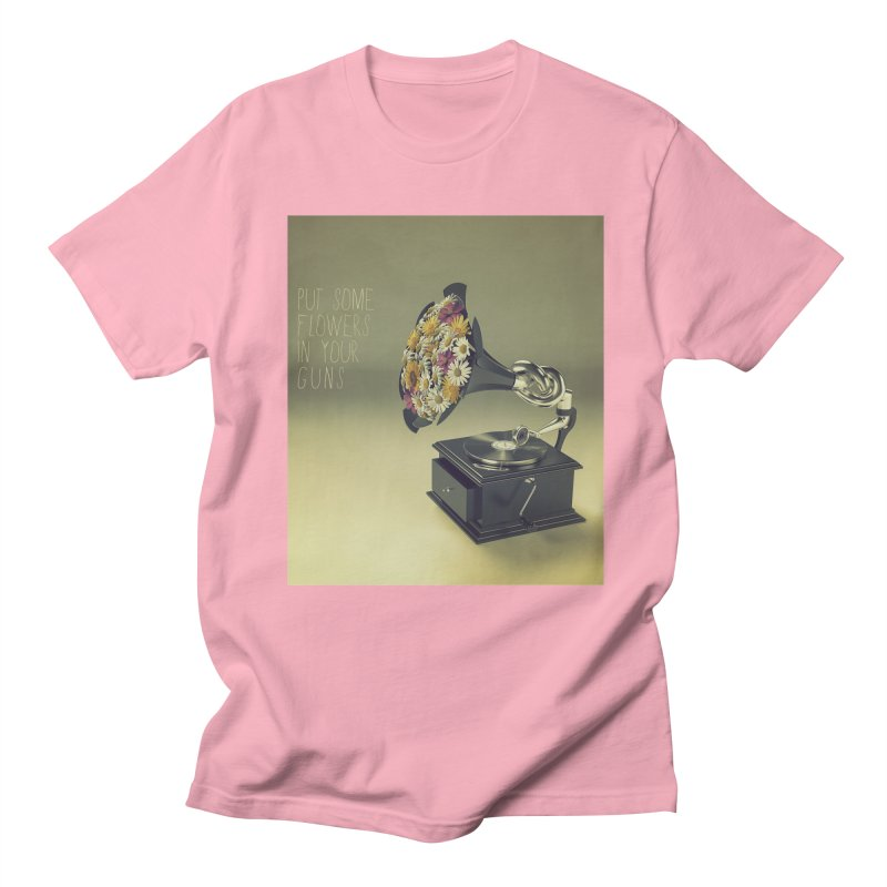 Put Some Flowers In Your Guns Men's Regular T-Shirt by nickmanofredda's Artist Shop