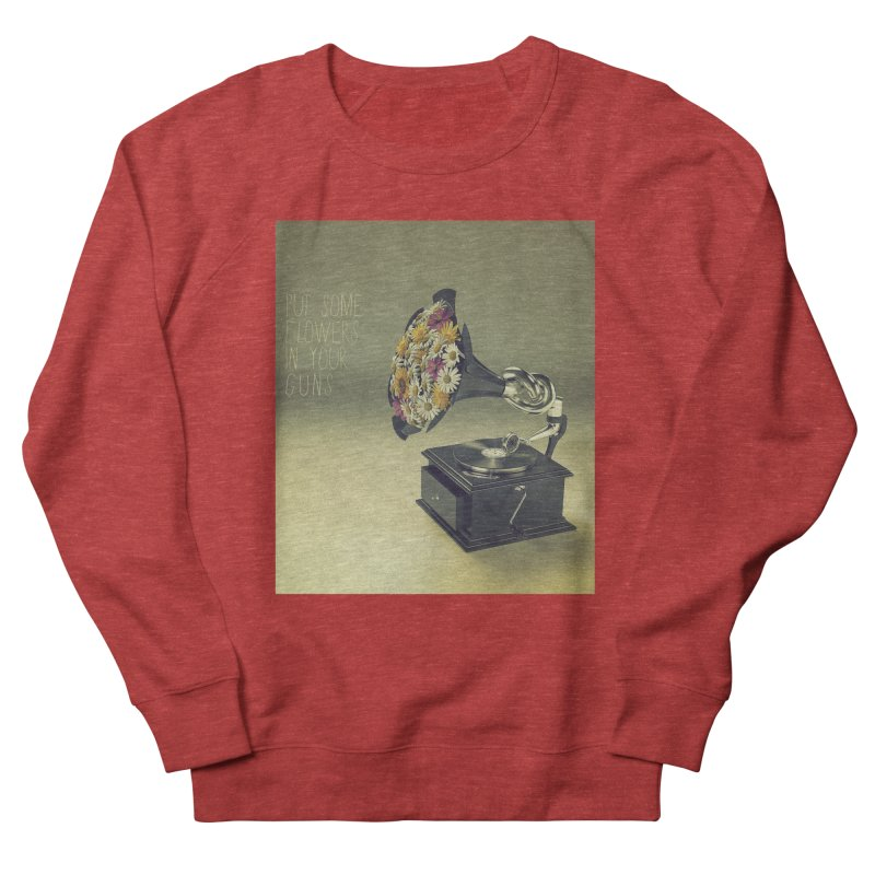 Put Some Flowers In Your Guns Women's French Terry Sweatshirt by nickmanofredda's Artist Shop