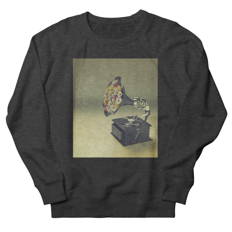 Put Some Flowers In Your Guns Men's French Terry Sweatshirt by nickmanofredda's Artist Shop