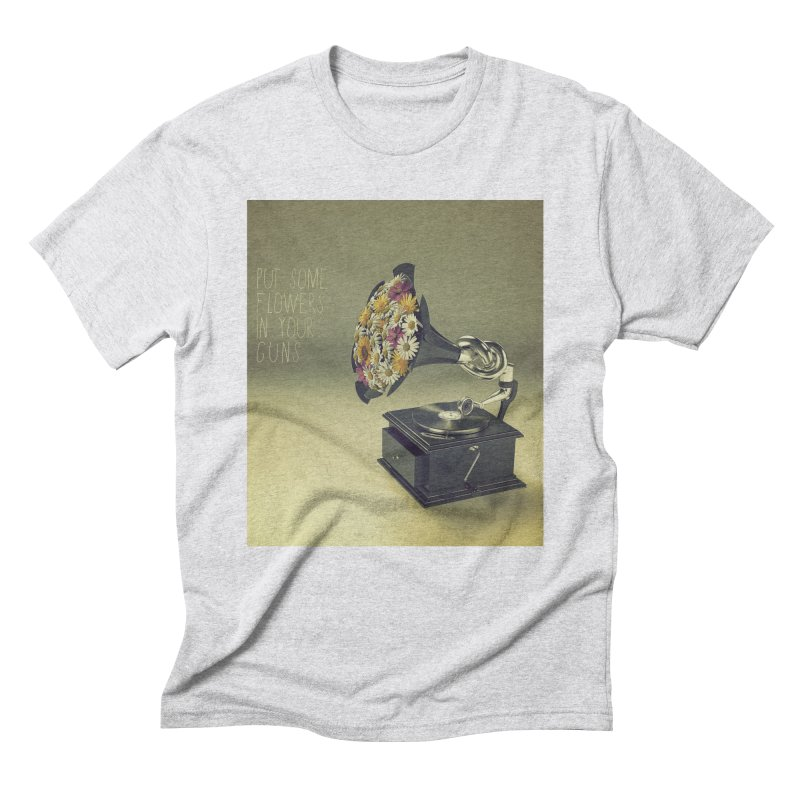Put Some Flowers In Your Guns Men's Triblend T-Shirt by nickmanofredda's Artist Shop