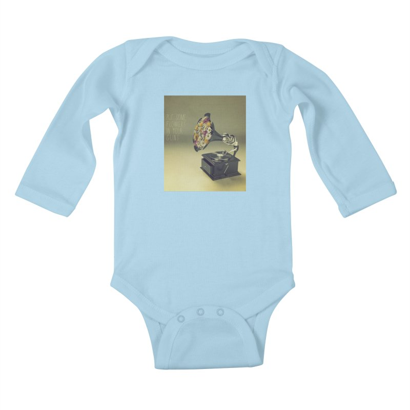 Put Some Flowers In Your Guns Kids Baby Longsleeve Bodysuit by nickmanofredda's Artist Shop