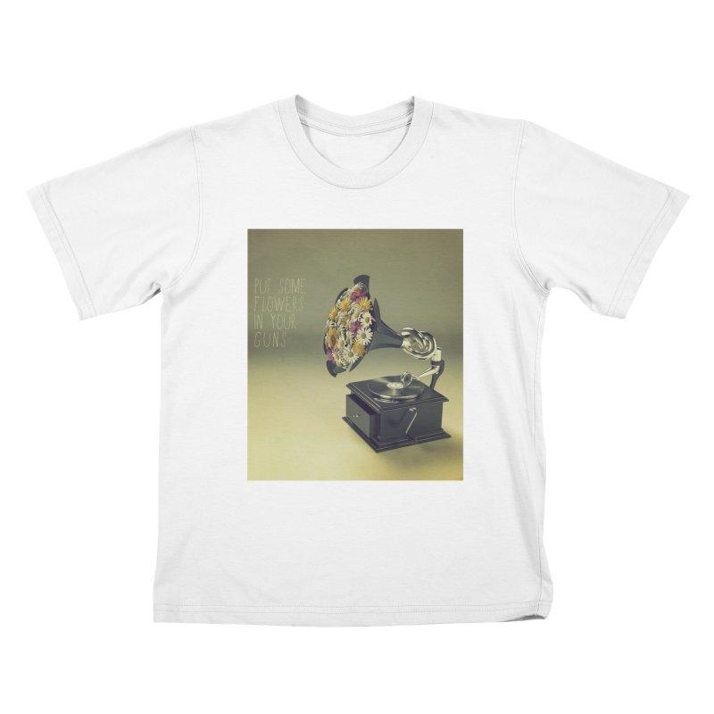 Put Some Flowers In Your Guns Kids T-Shirt by nickmanofredda's Artist Shop