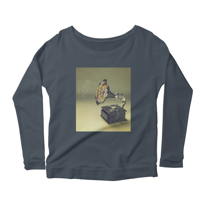Put Some Flowers In Your Guns Women's Scoop Neck Longsleeve T-Shirt by nickmanofredda's Artist Shop