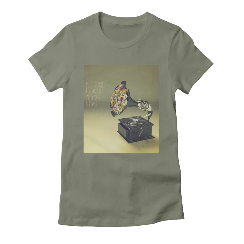 Put Some Flowers In Your Guns Women's Fitted T-Shirt by nickmanofredda's Artist Shop