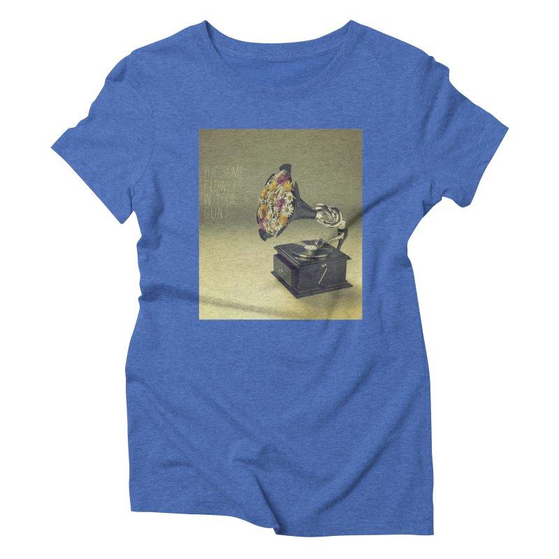 Put Some Flowers In Your Guns Women's Triblend T-Shirt by nickmanofredda's Artist Shop