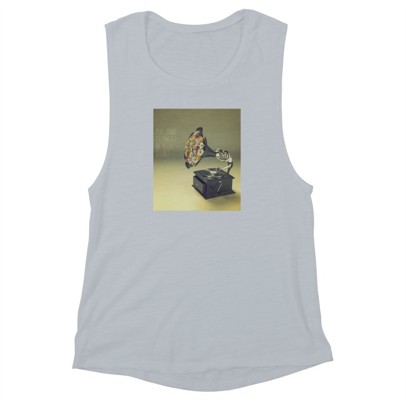 Put Some Flowers In Your Guns Women's Muscle Tank by nickmanofredda's Artist Shop