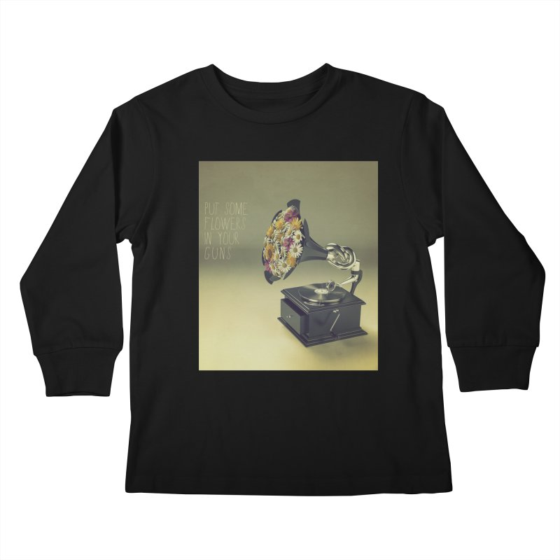 Put Some Flowers In Your Guns Kids Longsleeve T-Shirt by nickmanofredda's Artist Shop