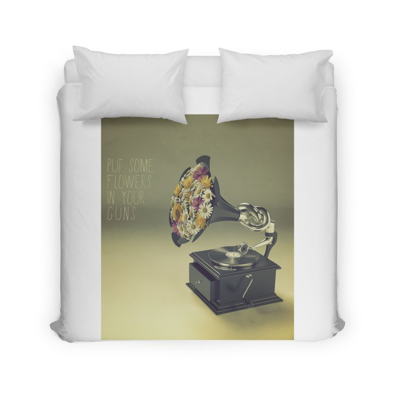 Put Some Flowers In Your Guns Home Duvet by nickmanofredda's Artist Shop