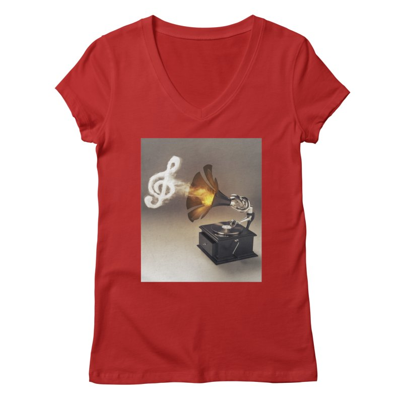 Let The Music Play Women's V-Neck by nickmanofredda's Artist Shop