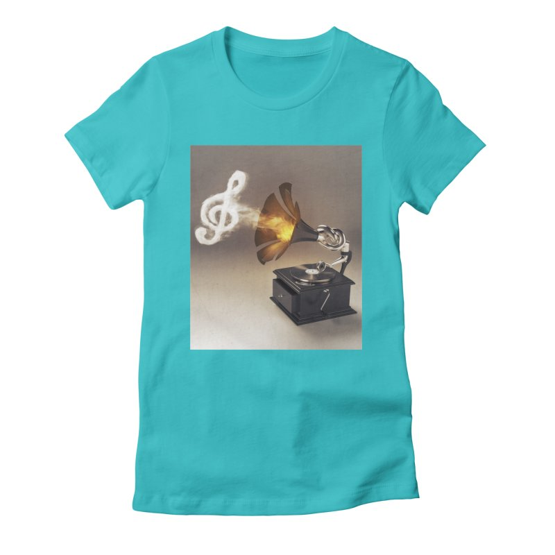 Let The Music Play Women's Fitted T-Shirt by nickmanofredda's Artist Shop