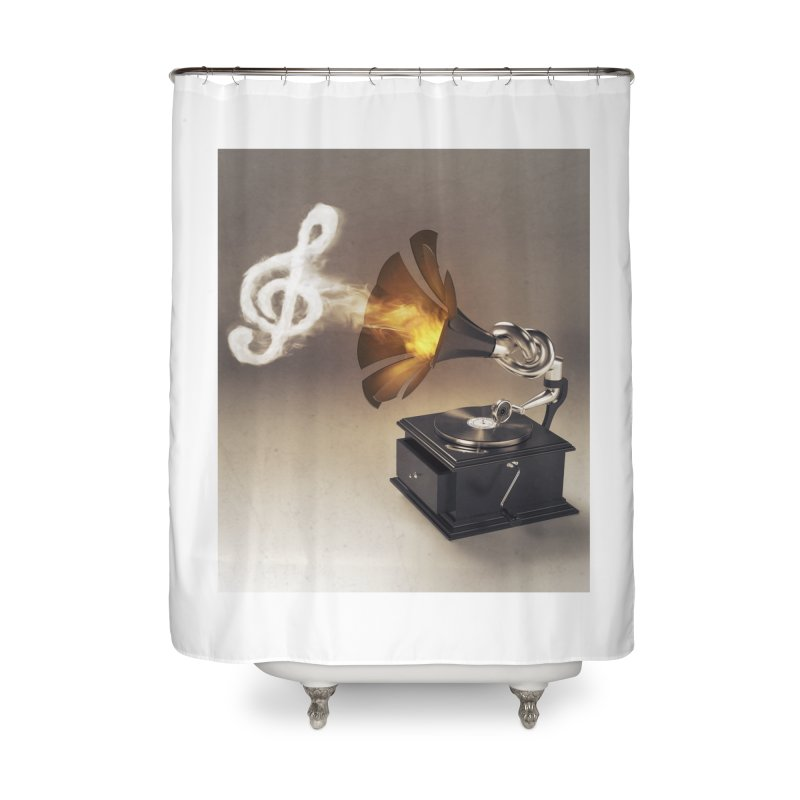 Let The Music Play Home Shower Curtain by nickmanofredda's Artist Shop
