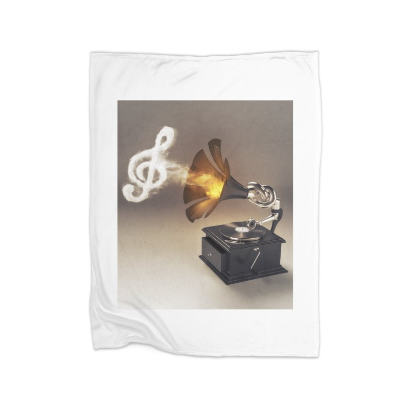 Let The Music Play Home Fleece Blanket Blanket by nickmanofredda's Artist Shop