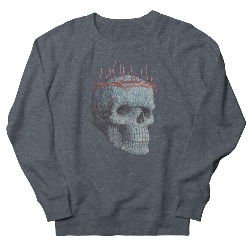 Blue Skull Men's French Terry Sweatshirt by Nick Sheehy's Artist Shop