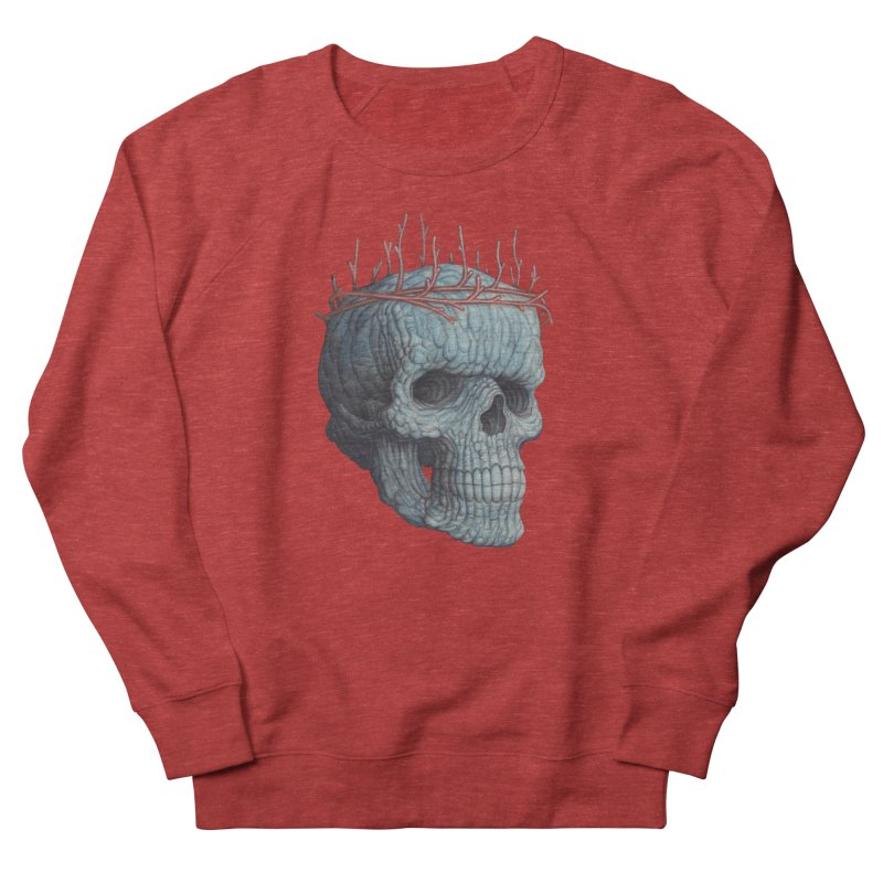 Blue Skull Men's French Terry Sweatshirt by Nick Sheehy's Artist Shop