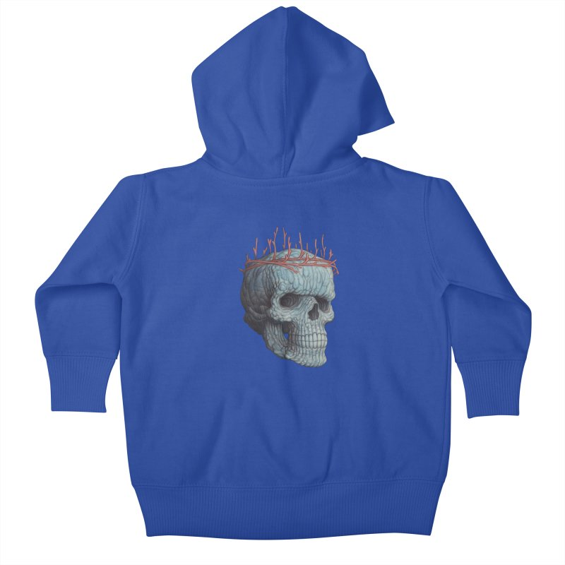 Blue Skull Kids Baby Zip-Up Hoody by Nick Sheehy's Artist Shop